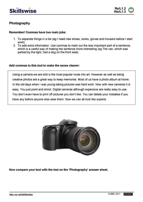 Photography Worksheets by Photography