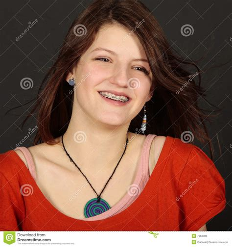 young teen girl face with braces teenage girl with dental brace face stock image image