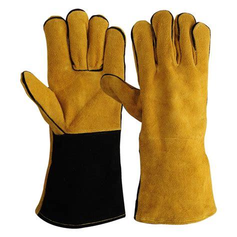 Sarung Tangan Kulit Industri 14 inch kulit sapi kulit pelindung tangan las sarung