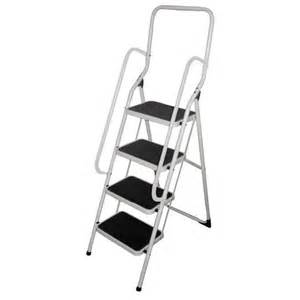 4 tread non slip safety step ladders with hand rail free
