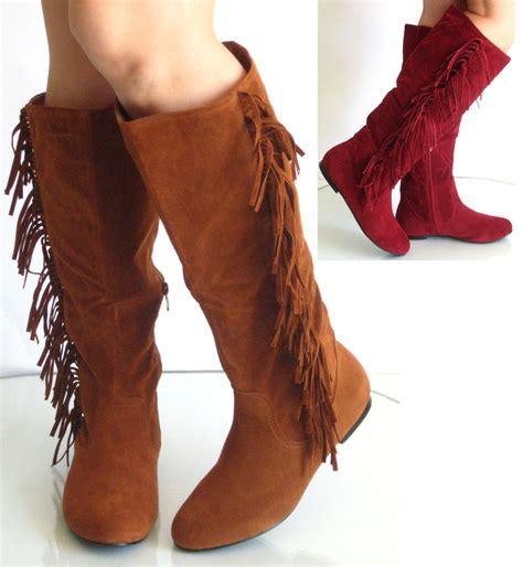 knee high fringe boots new womens toe flat heel knee high fringe boot suede