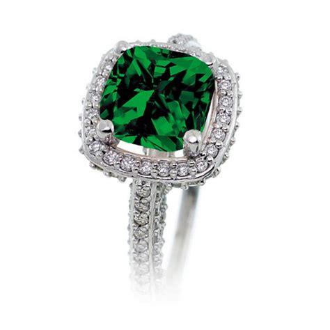 2 5 carat cushion cut designer emerald and halo
