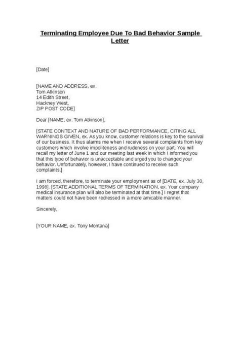 termination letter for poor customer service sle termination letter for poor performance template