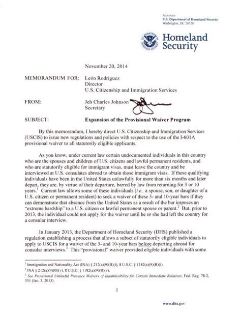 Hardship Letter To Uscis Nov 20 2014 Dhs Sec Memo I 601a Waiver Expansion