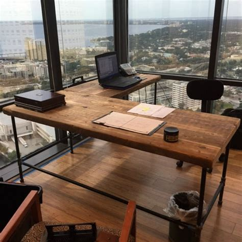 wooden l shaped desk luxury offices beautifully reclaimed wooden desks