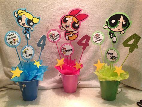 powerpuff girls birthday party my pinterest inspired very cute centerpieces the powerpuff girls party ideas