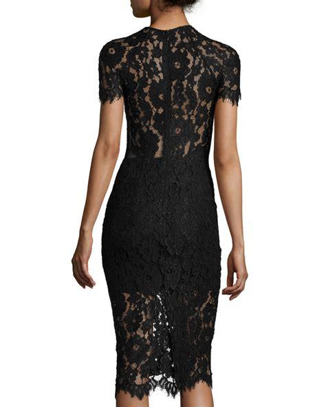 Sleeve Lace Sheath Dress lyst leona sleeve lace sheath dress in black