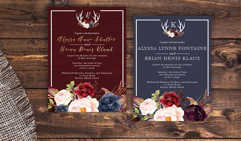 navy and marsala wedding invitation rustic wedding invitation cheap navy wedding invitation