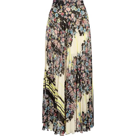 river island black floral border print pleated maxi skirt