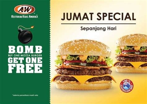 Promo Buy 1 Get 1 Free Selama April2017 2 a w promo jumat special quot b o m b quot buy one mozza burger get one free katalog kuliner