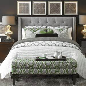 dublin upholstered winged bed bedroom furniture bassett