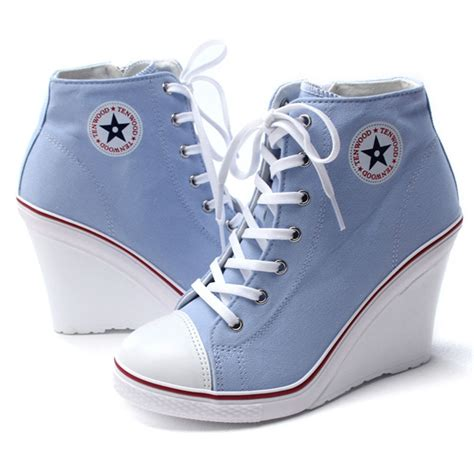 fashion sneakers epic7snob womens shoes canvas wedge high heel lace up