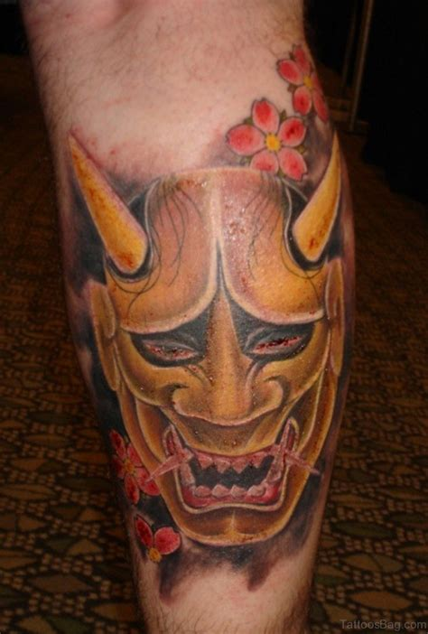 oni mask tattoo 40 impressive mask tattoos for leg