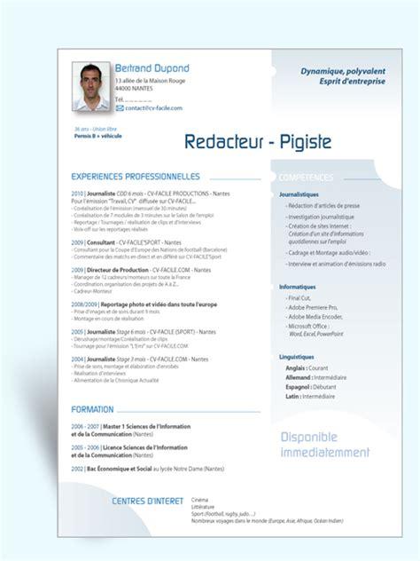 Modele Cv Facile by Mod 232 Le Cv R 233 Dacteur Cv Original