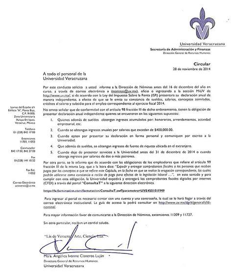 constancia de sueldos y salarios circular secretar 237 a de administraci 243 n y finanzas