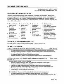 Financial Resume Exles by Financial Resume Sle