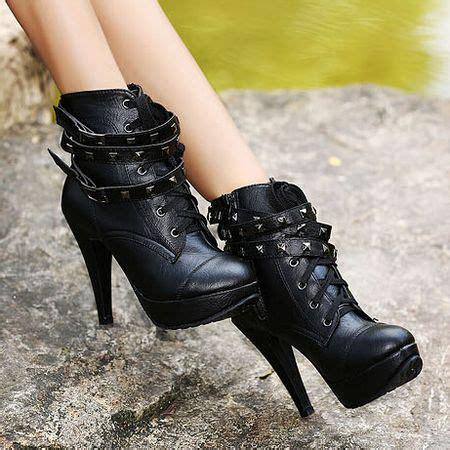Sepatu Geoff R A D All Black black studded high heel boots on luulla