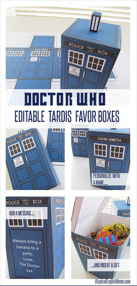 A Typical English Home Doctor Who Printable Tardis And Editable Party Favor Doctor Who Birthday Card Template