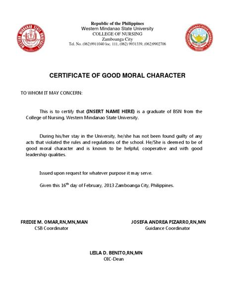 Character Certificate Letter Format 28 certification letter of moral character 301