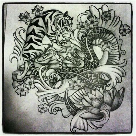 japanese snake tattoo design tiger and snake design tattoos by myre