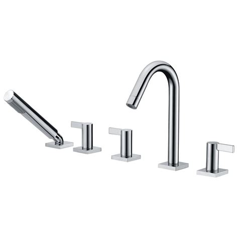deck mount bathtub faucet with sprayer anzzi snow series 3 handle deck mount roman tub faucet