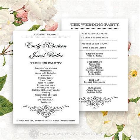 Wedding Program Cards Templates by Printable Wedding Programs Editable Template Instant
