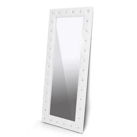 stella crystal tufted modern floor mirror overstock com
