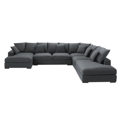 7 Seater Cotton Modular Corner Sofa In Grey Loft Maisons
