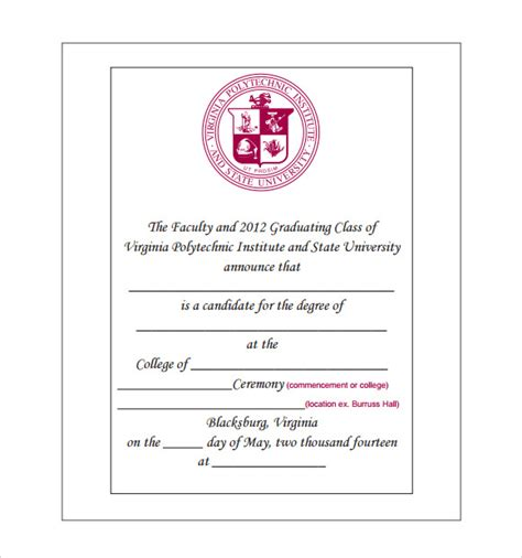 college graduation invitations templates sle graduation announcement template 8 free