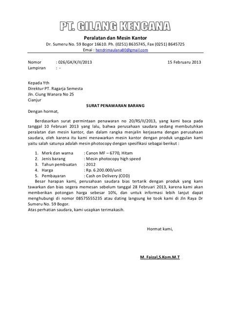 Contoh Surat Penawaran Barang Kantor by Contoh Surat Penawaran Barang