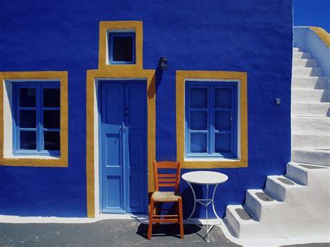 Small Architects House Santorini Santorini Steps Beautiful Blue Chair Door Greece