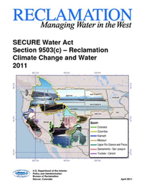 section 9 water act usbr secure 2011 reclamation managing water in the west