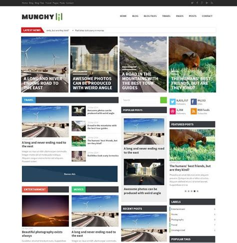 stylish templates for blogger munchy flat magazine blogger template 187 abtemplates com