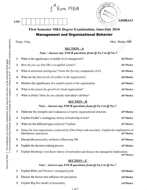 Ou Mba 1st Sem Important Questions 2016 by 1st Semester Mba Jun 2016 Question Papers