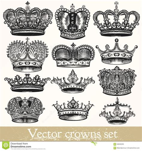 set of vector hand drawn crowns in vintage style stock