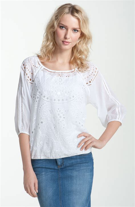Blouse Branded White lucky brand cutout blouse in white lyst
