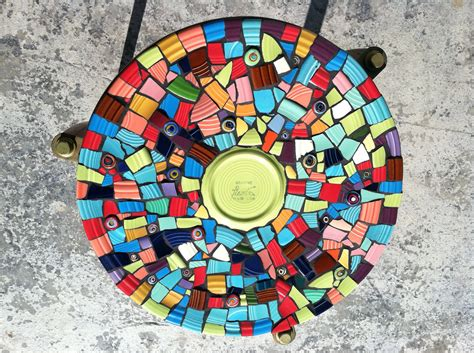 round mosaic pattern ideas mosaic tile art retro modern round end table colorful hand