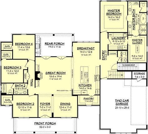 farmhouse style house plan 4 beds 2 50 baths 2686 sq ft plan 430 156