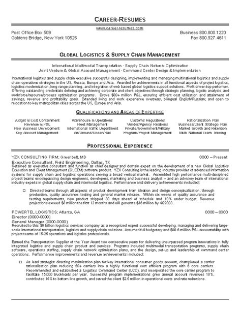 logistics executive resume sles career logistics resume sle writing resume