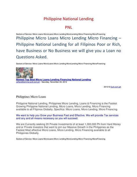 Loan Letter For Tier 4 Visa Calam 233 O Philippines Microloans Microlending Microfinancing Business Banks