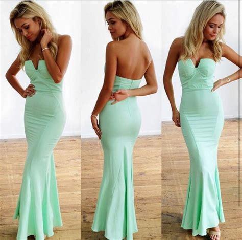 Adliya Dress Plain Series Green dress mint mermaid prom dress wheretoget