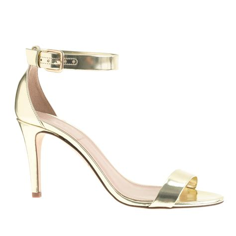 high heel flats j crew mirror metallic high heel sandals in metallic lyst