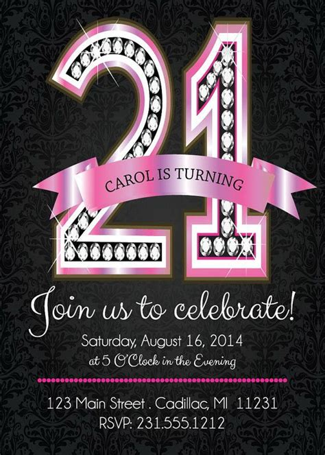 21st Birthday Card Template by 17 Best Ideas About 21st Birthday Invitations On