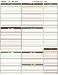 planner template free weekly schedule templates for excel smartsheet