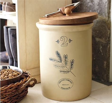 Pottery Kitchen Canister Sets vintage pet food storage container with scoop