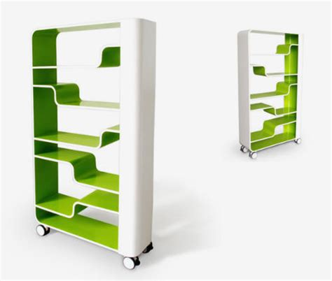 modern bookshelf in green and white color with wavy shelfs