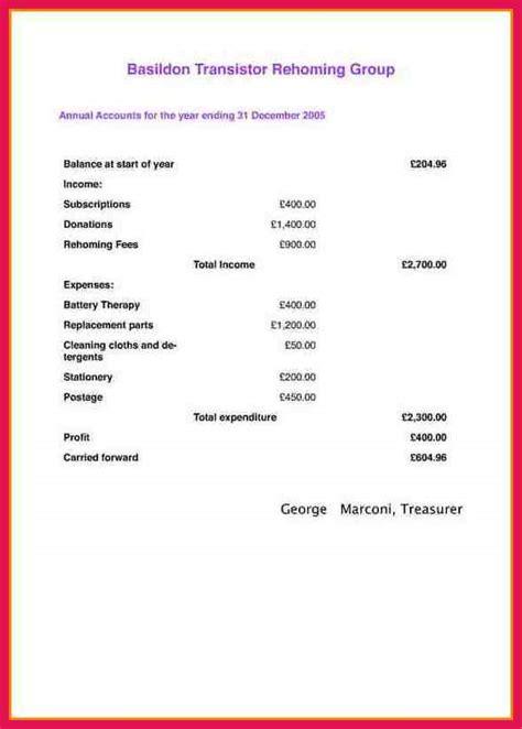 Treasurer S Report Template Sop Exles Treasurer S Report Template Pdf