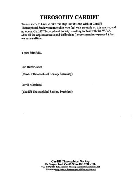 Divorce Letter Sle Uk Theosophy Cardiff Wales Uk Letter Of Separation From The Regional Association March