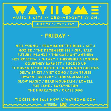 wayhome daily lineup announced indie88