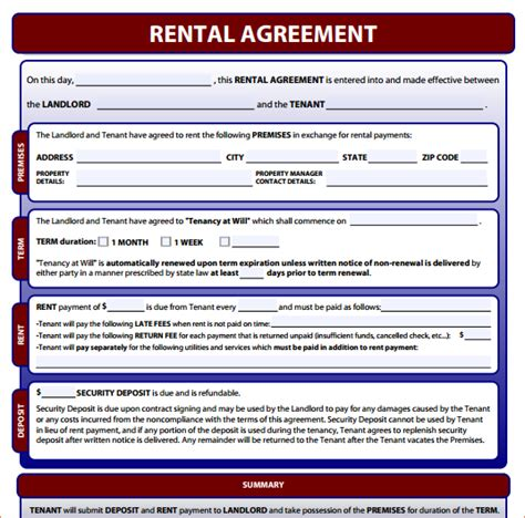 Simple Rental Agreement Form 2 Simple One Page Lease Agreementreport Template Document